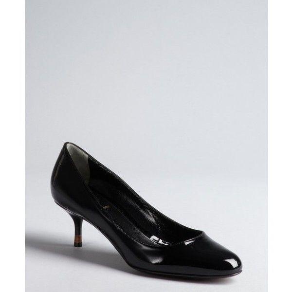 Black Patent Leather Kitten Heel Pumps Fendi Heels Heels Kitten Heels