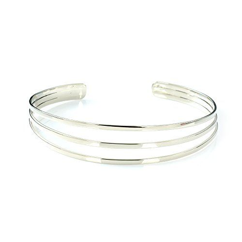 84d0aca1405 MGD, 20 MM Wide 3 Wire Arm Cuff Adjustable Upper Arm Bracelet, Silver Tone  Base Brass, One Size Fit All, Fashion Jewelry for Women, JE-0203M Mary  Grace ...