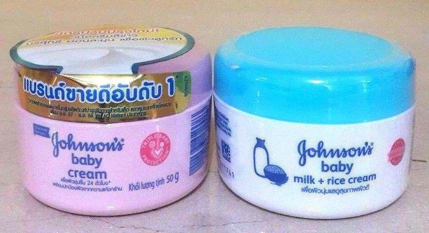 Details about 2x50g Johnson's Baby Milk Rice Cream+Baby