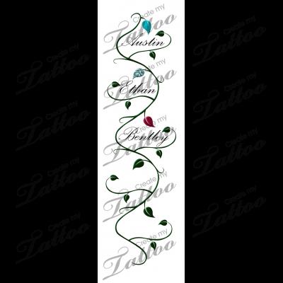 Children\u0027s Name with Vine Tattoo