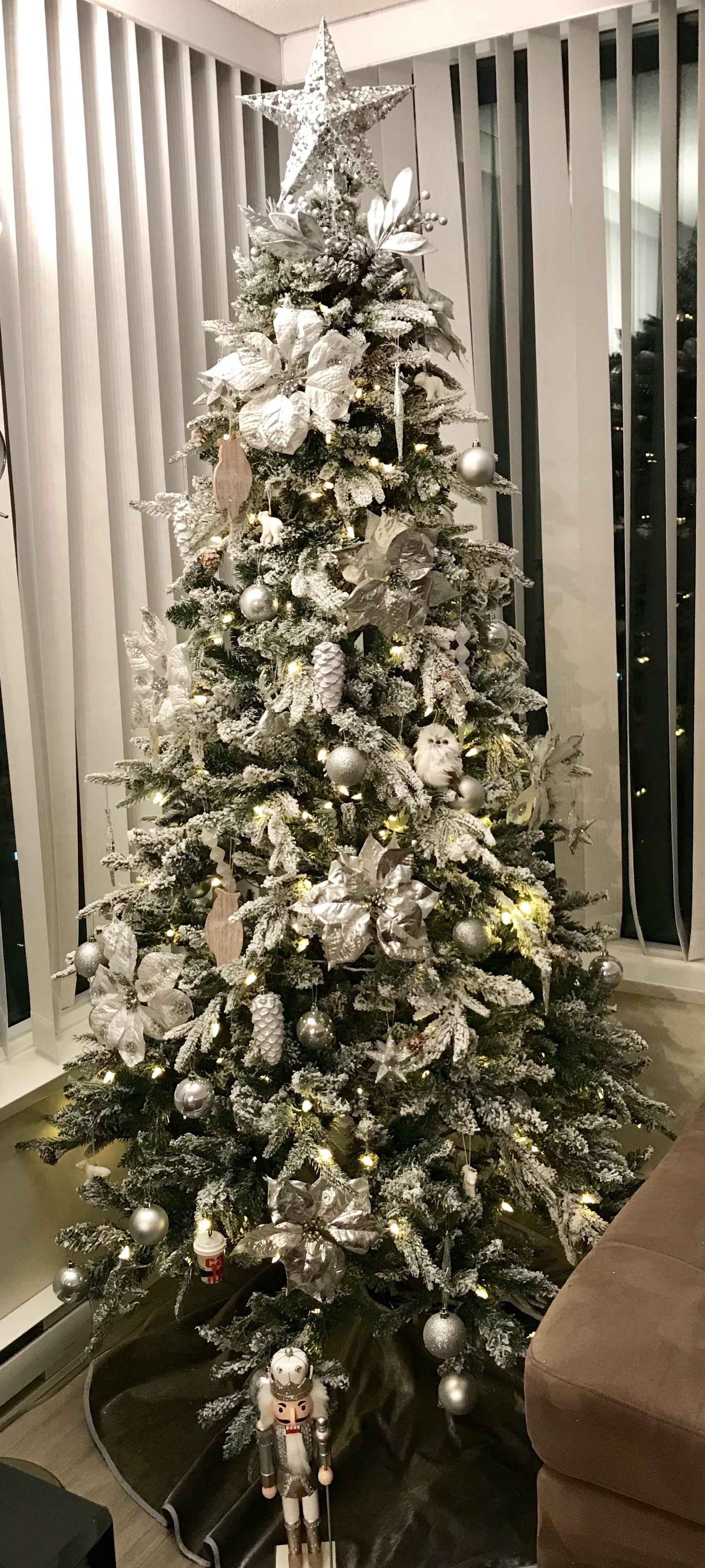 White And Silver Christmas Tree Theme Gluckstein Ultra Real Flocked Frasier 7ft Christmas Tree With Silver Christmas Tree 7ft Christmas Tree Christmas Tree