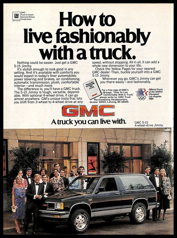 Details About 1983 Gmc S 15 4x4 Jimmy Truck Vintage Print Ad