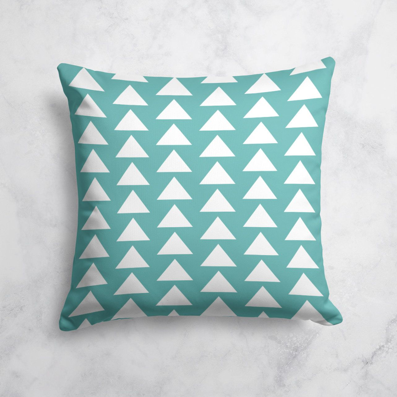 Teal Grey Geometric Triangles Pillow