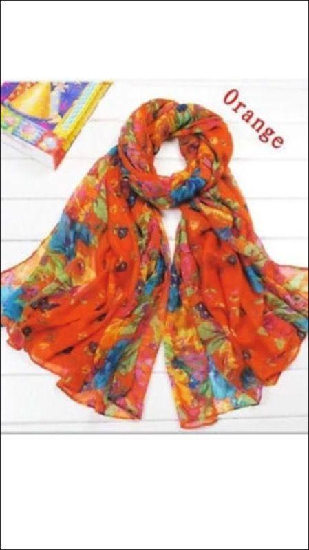orange Women/'s Lotus Flower Pattern voile cotton  Long Soft Stole Wrap Scarf
