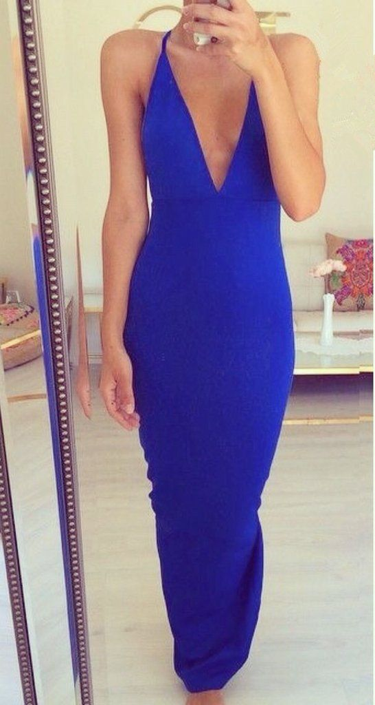 Sexy Royabl Blue Prom Dress Evening Party Gown Deep V Neckline ...