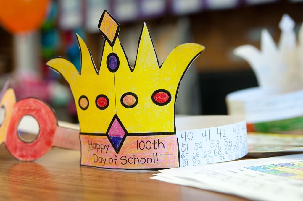 100th day crowns with 100 number strip bands 100th day fun free printable crown pattern for the day maxwellsz