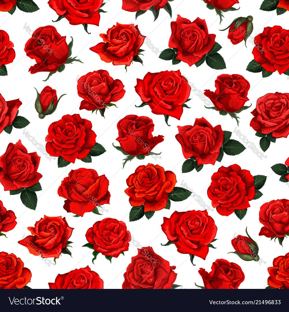 Red rose flower seamless pattern background design vector