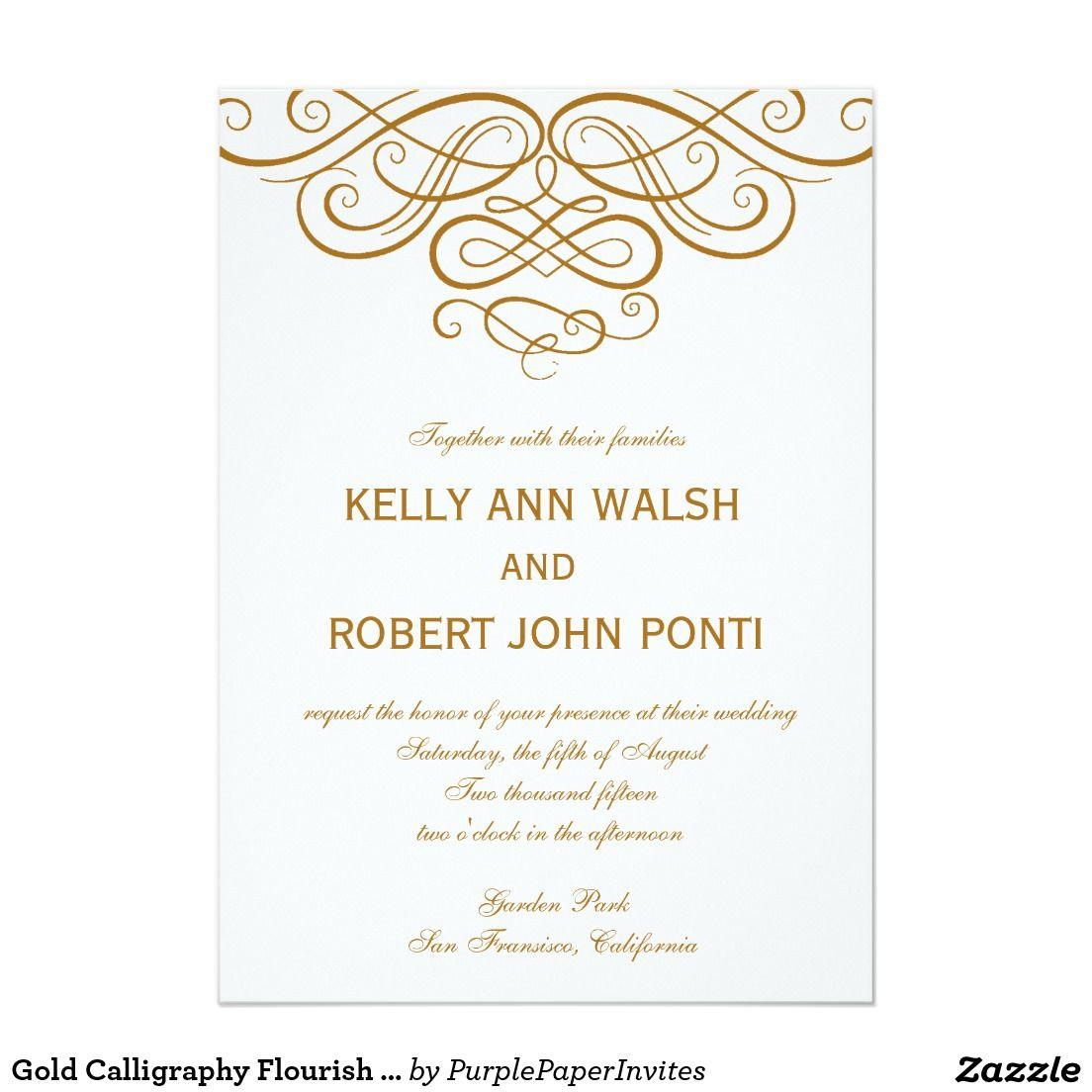 Gold Calligraphy Flourish Wedding Invitation | Gold calligraphy and ...