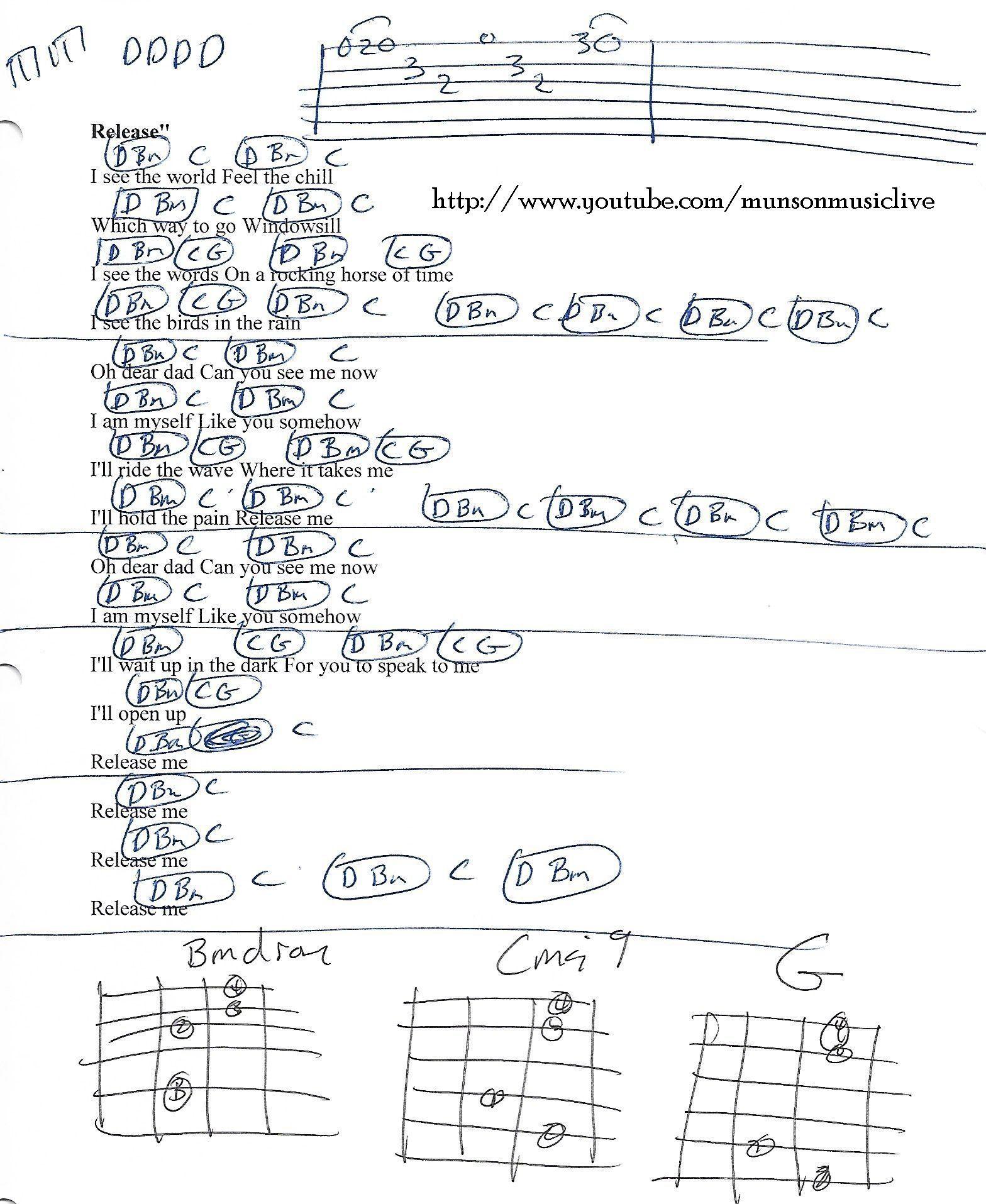 Release Me Pearl Jam Guitar Chord Chart Guitar Lesson Chord