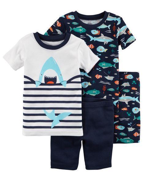 0fc10bea61a4 4-Piece Neon Shark Snug Fit Cotton PJs
