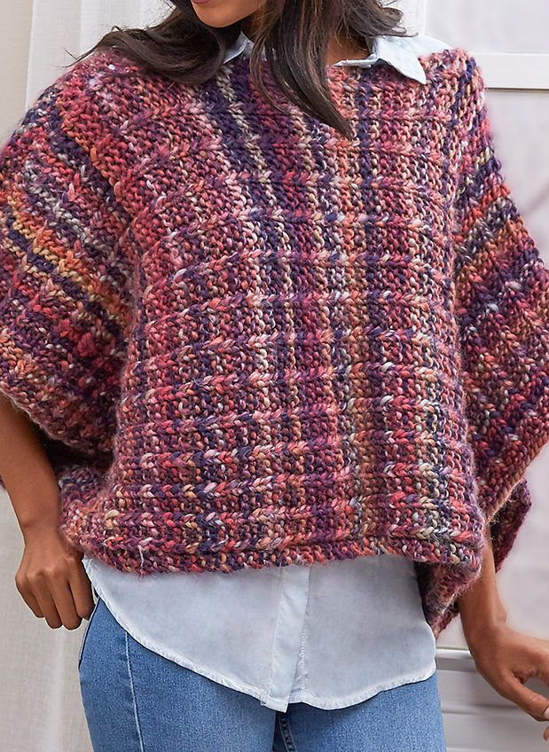 Free Knitting Pattern for Easy 2 Row Repeat Boat Neck Poncho - Easy ...