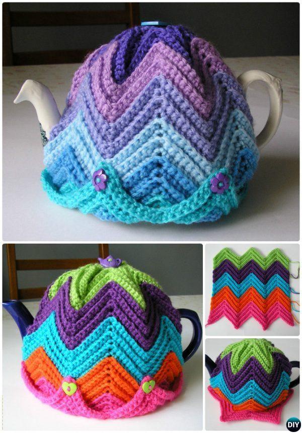 Crochet Easy Ripple Tea Cosy Free Pattern-20 Crochet Knit Tea Cozy ...