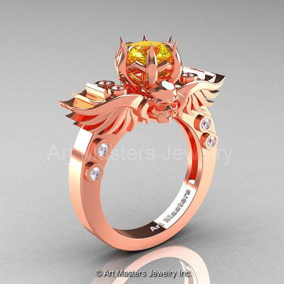 Art Masters Classic Winged Skull 14K Rose Gold 1.0 by artmasters, $1519.00