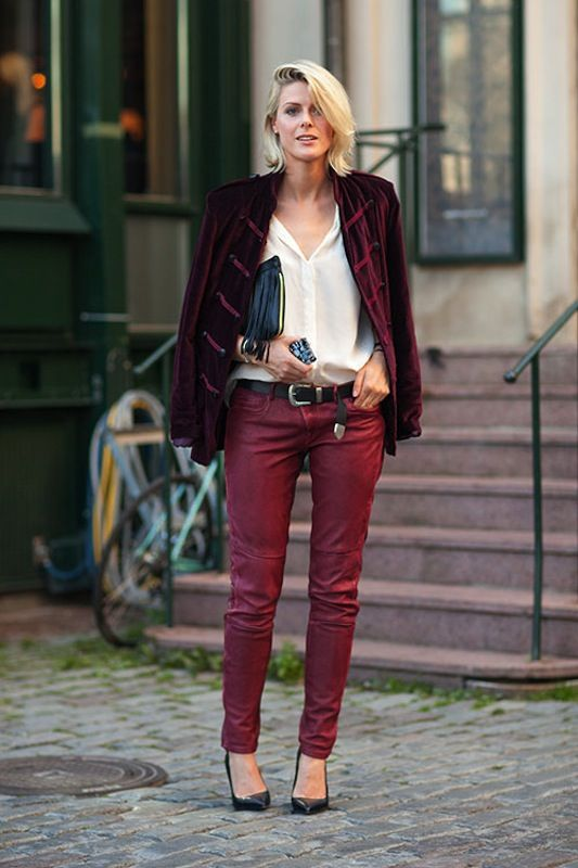 d7d412e1785d summer outfits womens fashion clothes style apparel clothing closet ideas  burgundy pants white shirt jacket purse casual