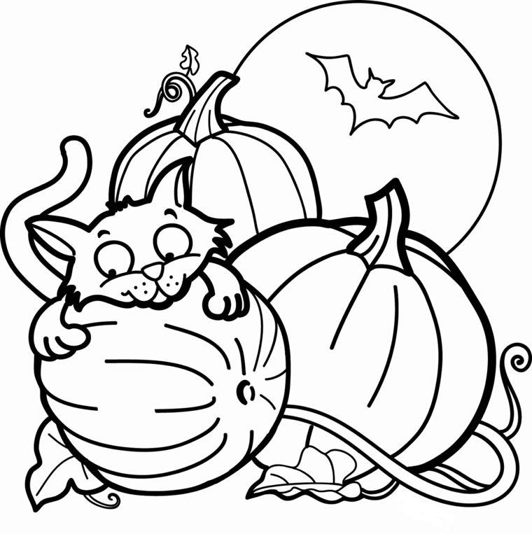 Idea Per Un Disegno Da Colorare Per Halloween Con Zucche E Gattino