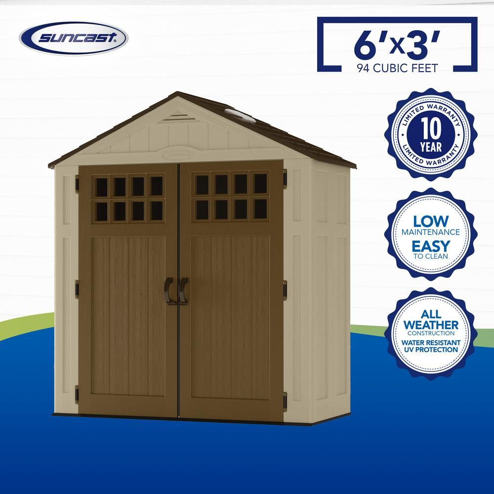 Suncast Everett 2 Ft 9 In X 6 Ft 2 75 In Resin Storage Shed Bms6310 The Home Depot In 2020 Resin Storage Storage Shed Shed