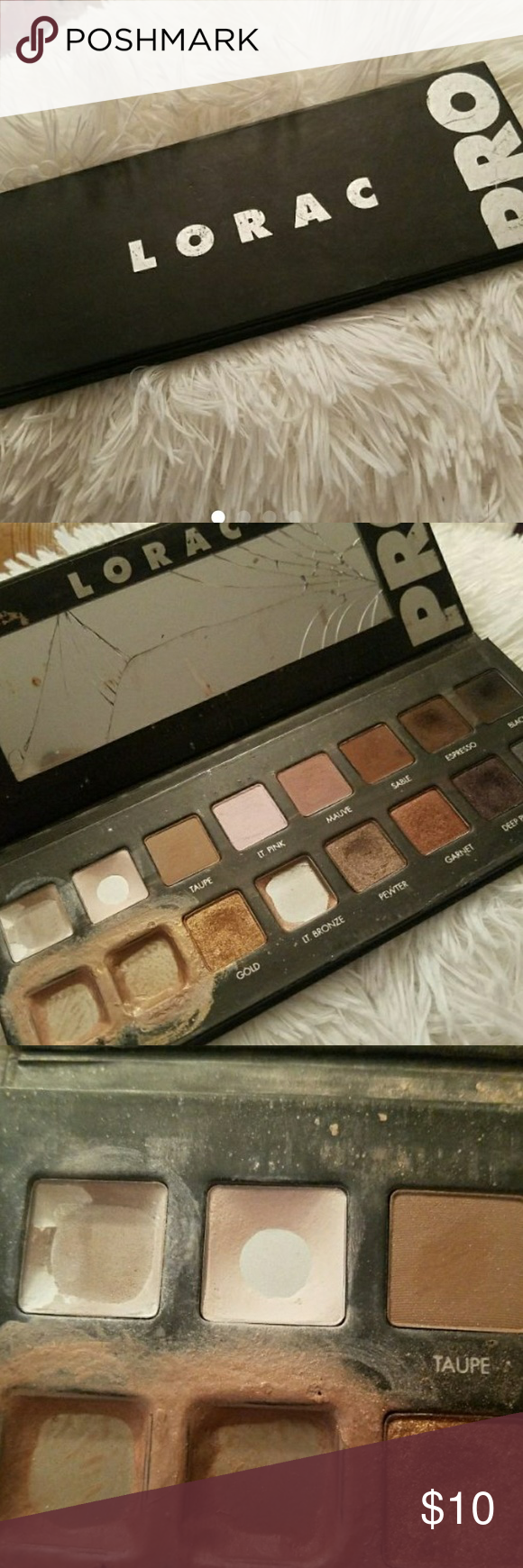 USED lorac pro pallet This pallete has been used, and abused. Lots of colors still available for those who are wanting to try this eye shadow. Other