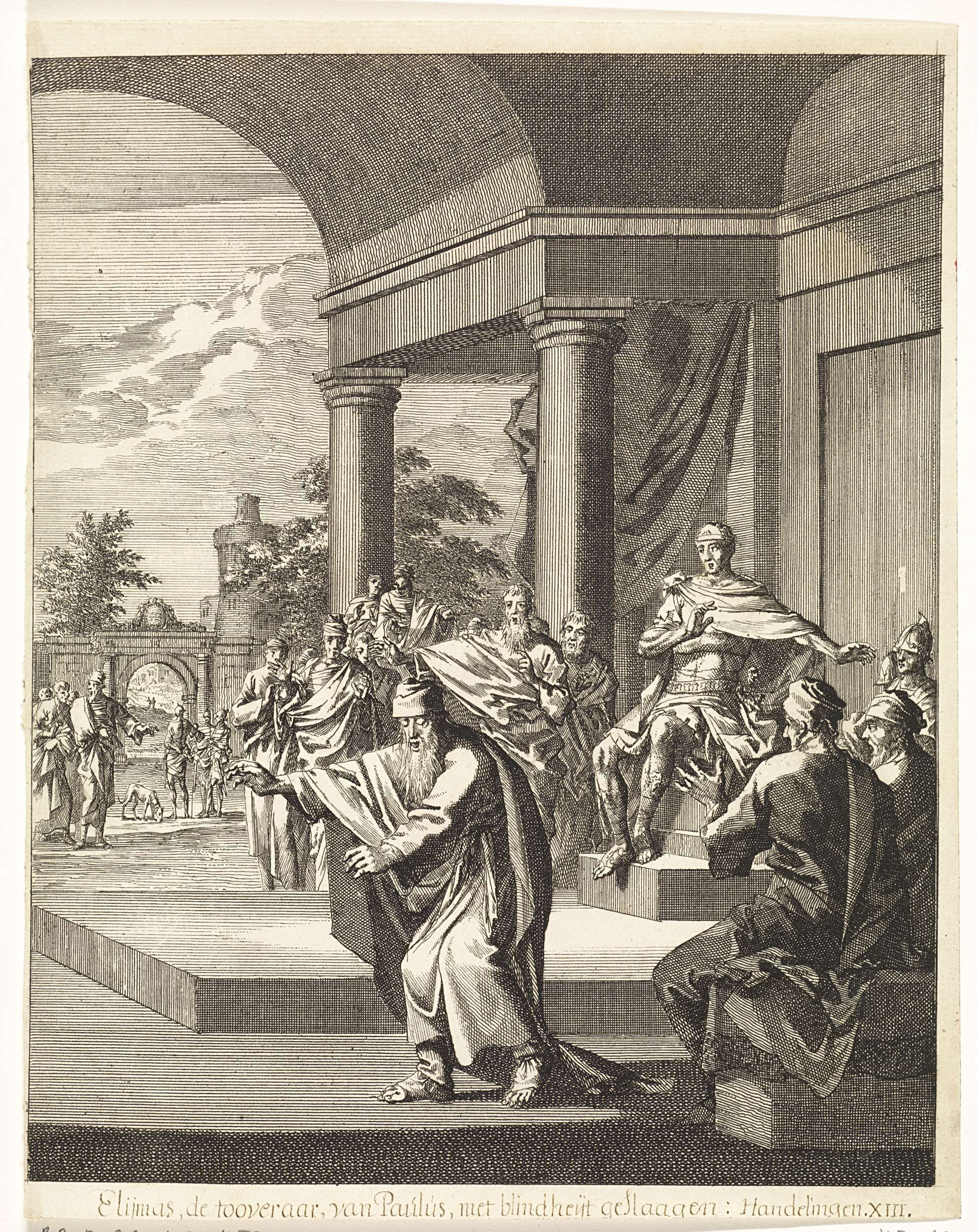 Jan Luyken | Paulus maakt Elymas blind, Jan Luyken, Christoph Weigel, 1708 |