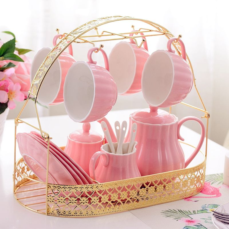 #pinkteaset#porclainteaset#pinkteacupwithsaucer Solid color candy pink porcelain tea set of 15 email: lirancoffeecup@gmail.com whatsapp:+8617737705390 #teasets