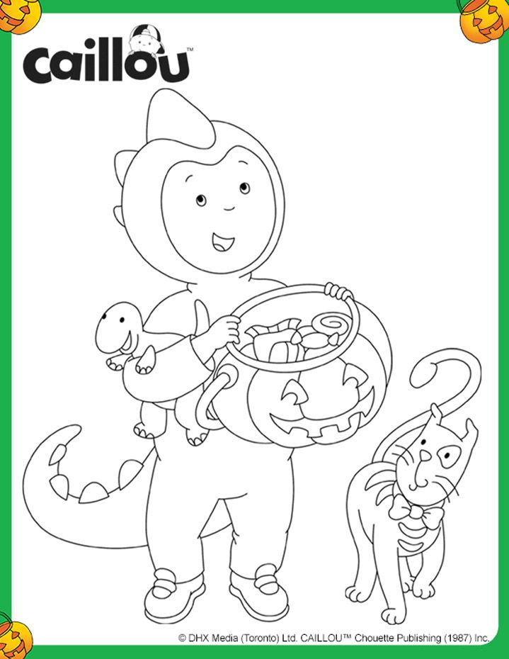 Coloriage d\'Halloween– Caillou dinosaure | Caillou Coloring Fun ...