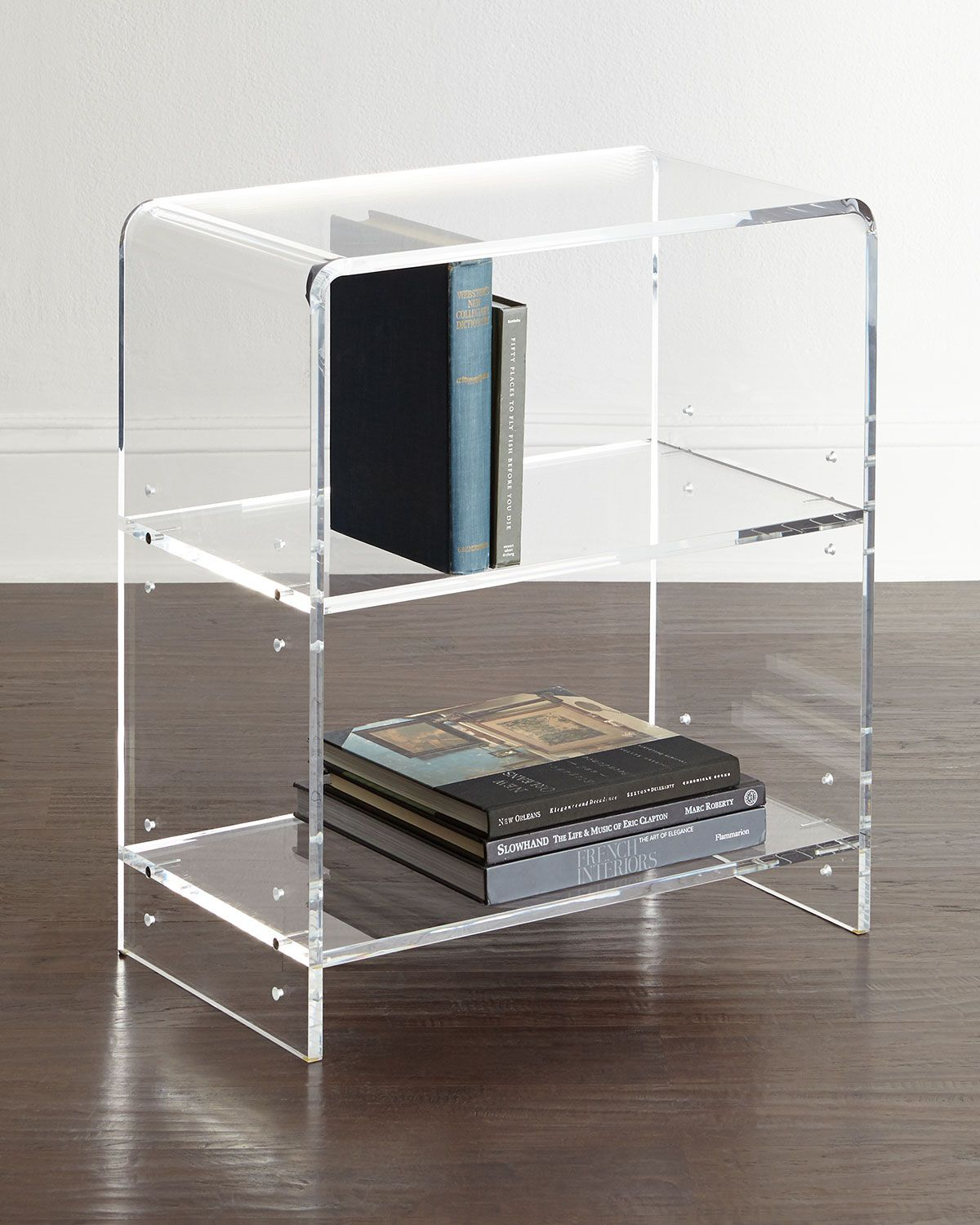 Bookcase Made Of Clear Acrylic With Waterfall Curves Two Shelves 11 Between 22W X 12D 25T Imported Boxed Weight Approximately 35 Lbs