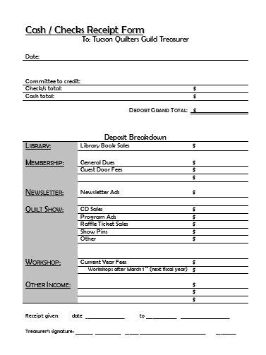 Cash Checks Receipt Form  Templates