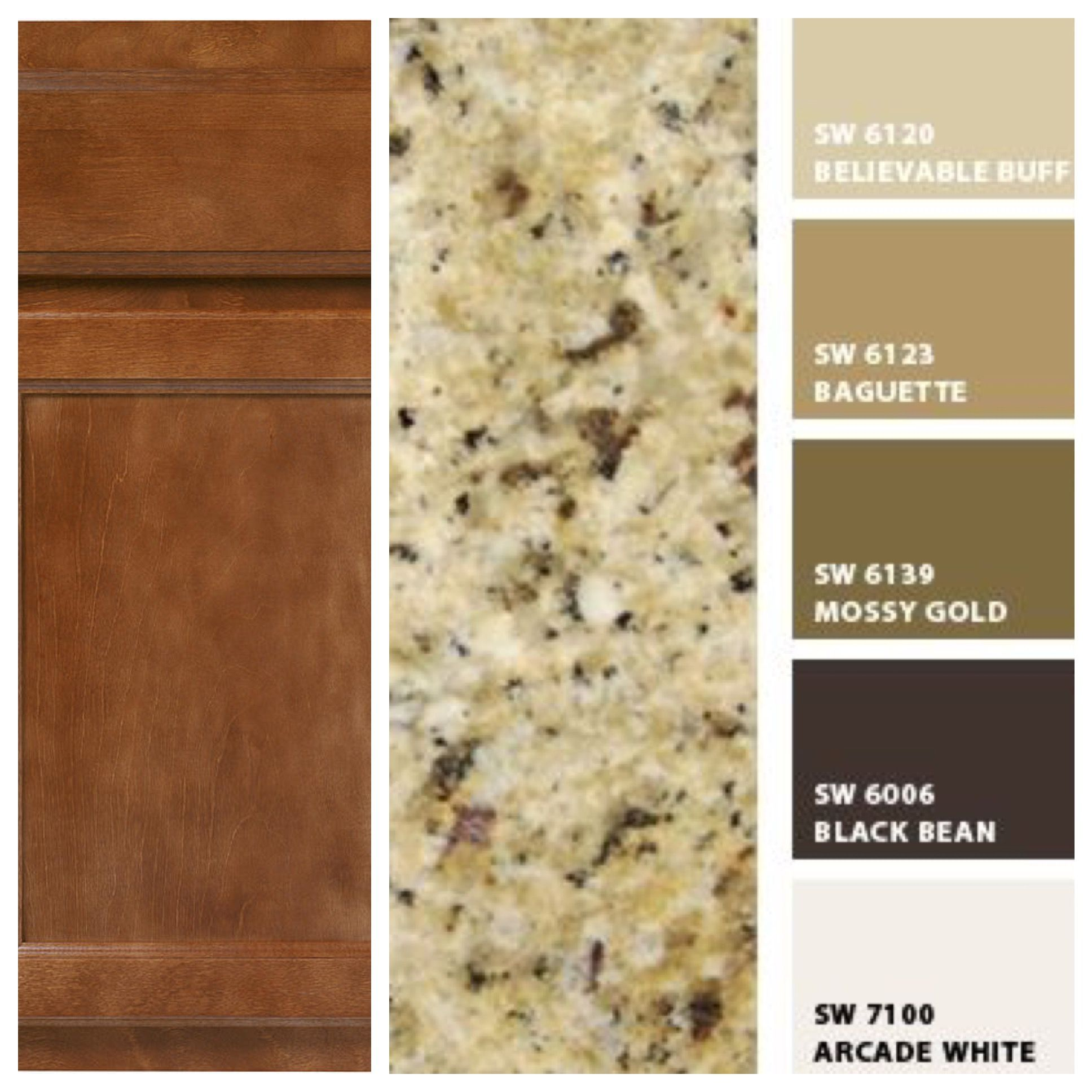 Kitchen Granite Color Combinations: I Created This Based On The Cabinets We Picked (Merillat Colony Birch