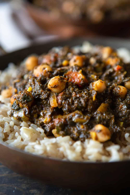 Ghanaian Spinach Stew With Chickpeas Vegan The Minimalist Vegan Recipe In 2020 Vegan African Recipes Mexican Food Recipes Authentic Ghanaian Food