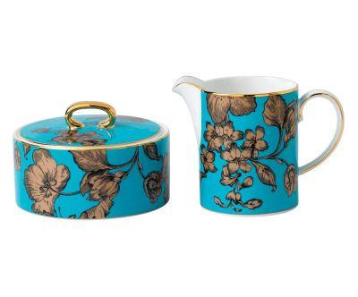 Set de azucarero y jarra de leche en porcelana bone china Vibrance