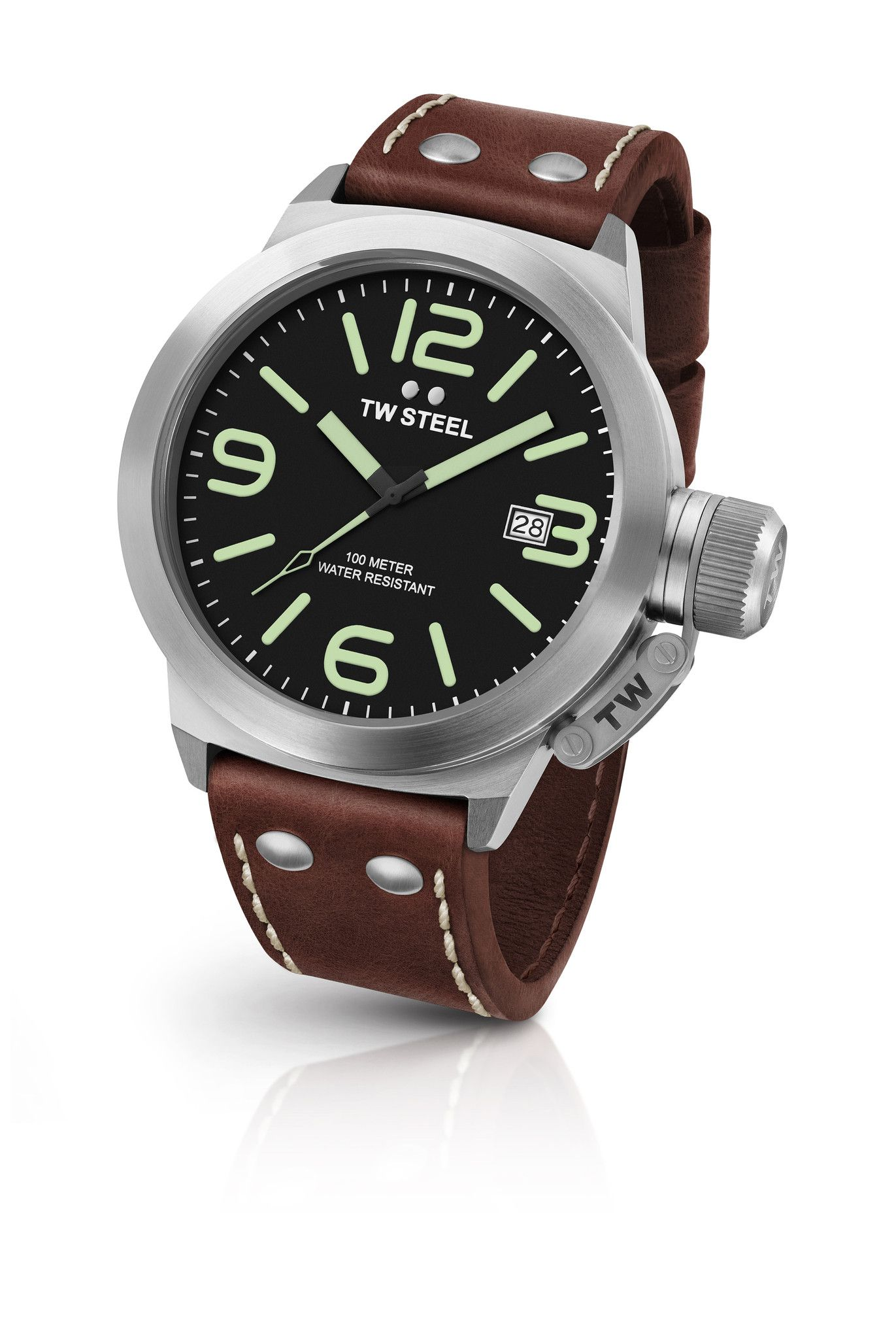 1b8ad71f9 TW Steel CS22 Men's Watch 50mm Canteen Leather Black Dial With Brown Leather  Strap