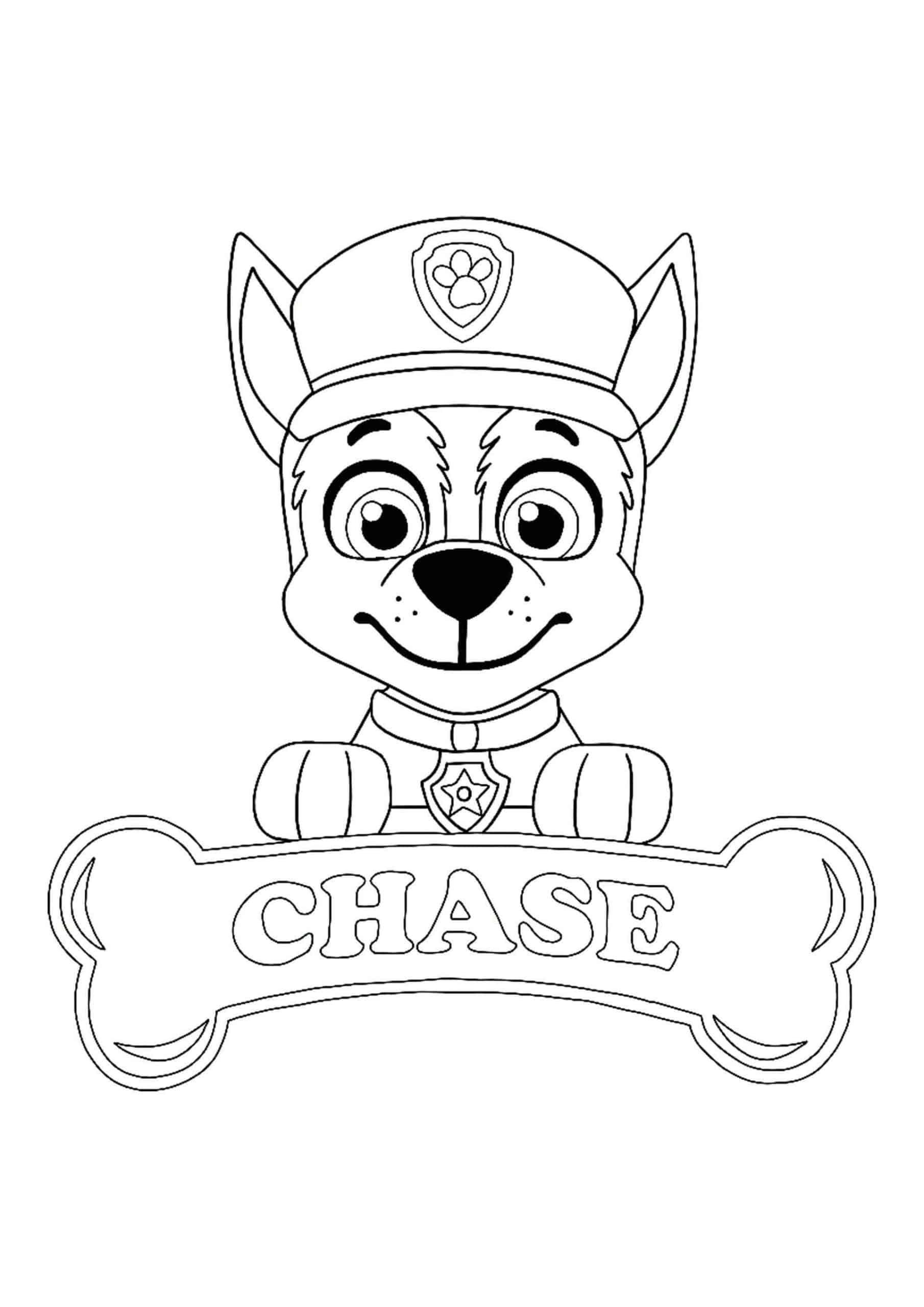 Paw Patrol Chase coloring sheet in 2020 Paw patrol