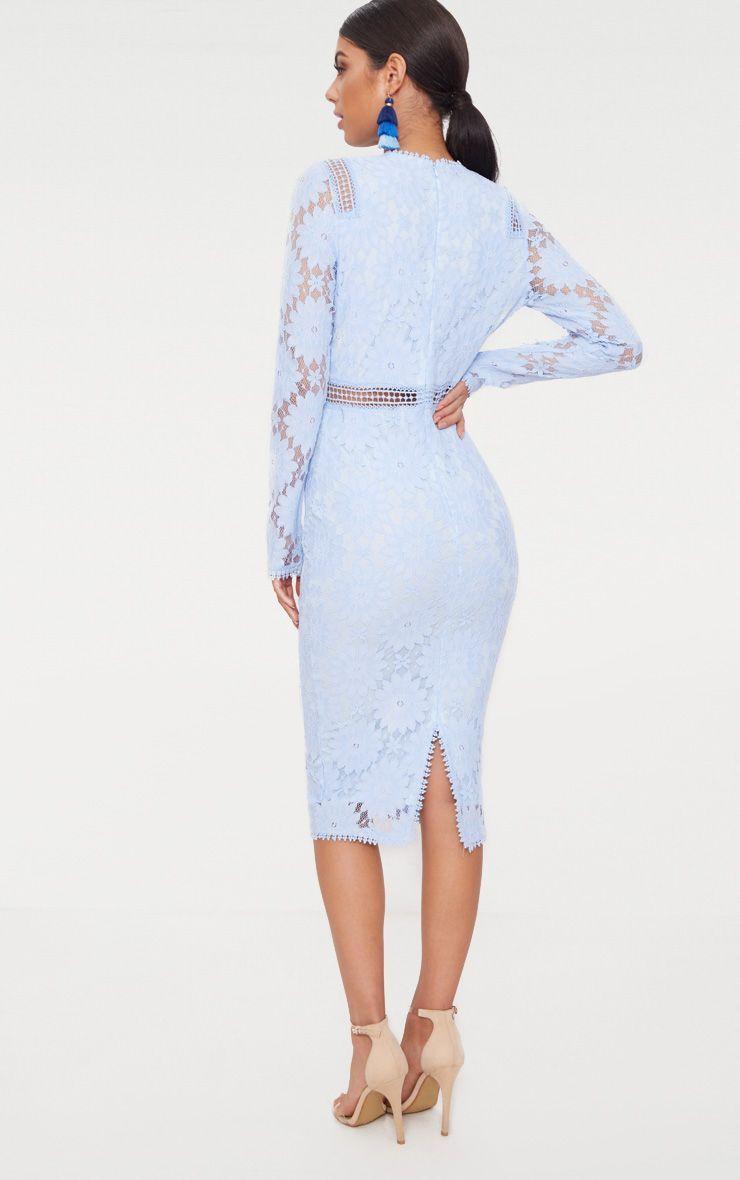 32bbd917031 Dusty Blue Long Sleeve Lace Bodycon Dress in 2019