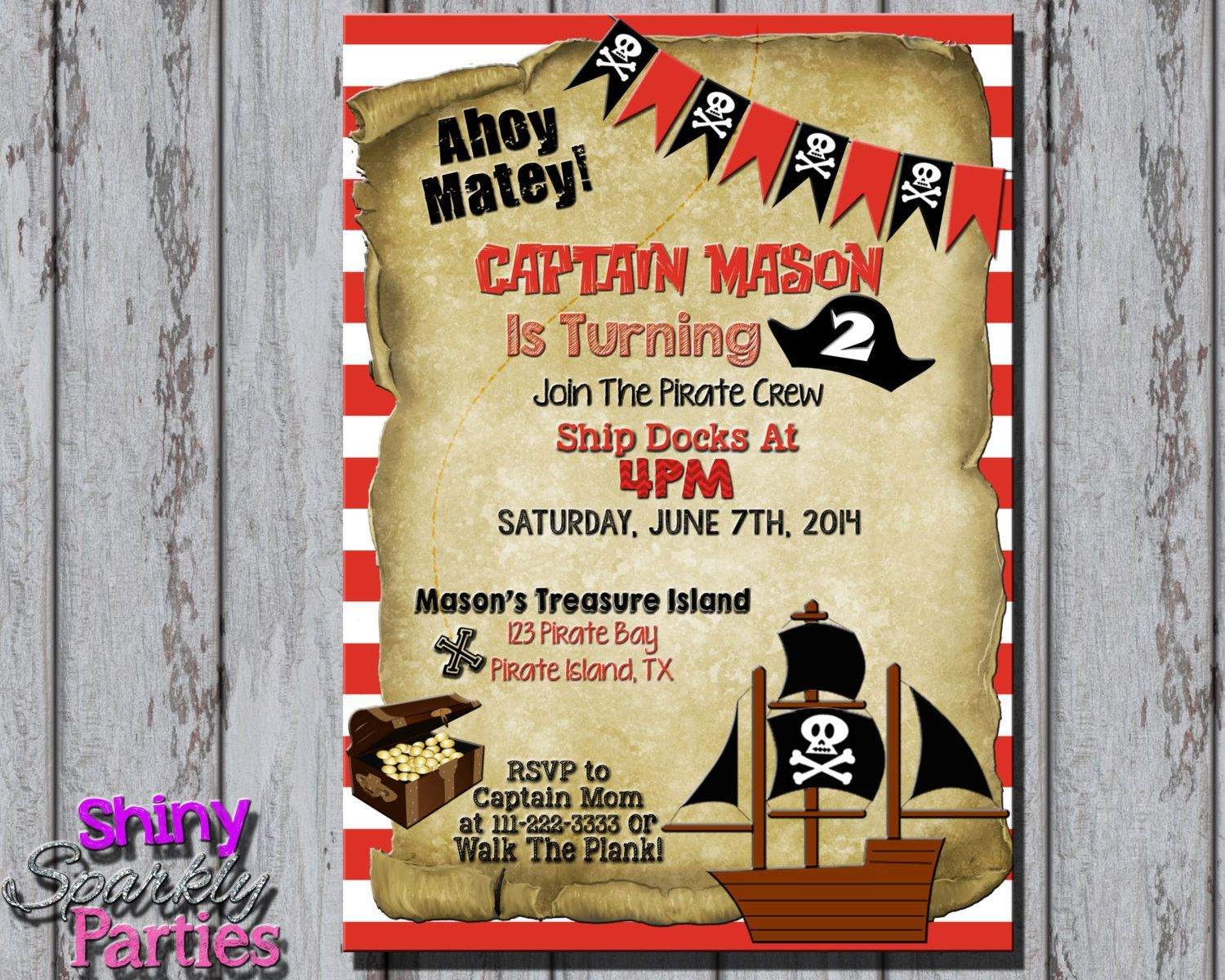 Printable PIRATE PARTY INVITATION - Pirate Birthday Invitation - Pirate Birthday Party Invitation - Pirate Invite - Pirate Invitation