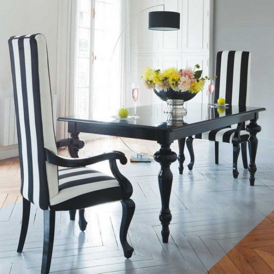 21 Black And White Traditional Dining Areas  Beautiful Home Endearing Black And White Dining Room Table Design Decoration