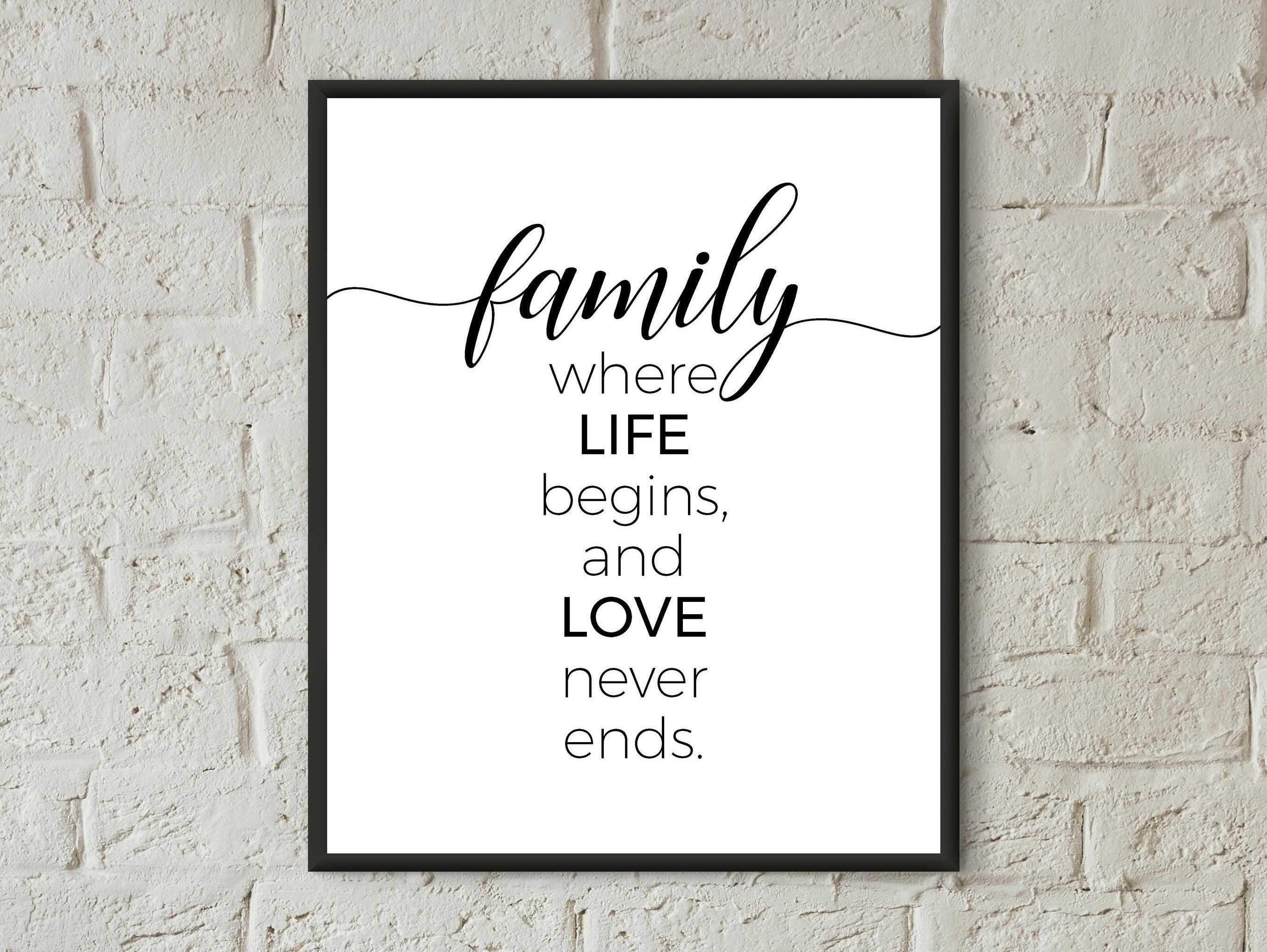 Family Print Quote Wall Art Family Home Living Room Wall Decor