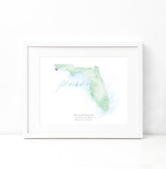 Map Of Watercolor Florida.Florida Watercolor Map Destination Map Print Personalized