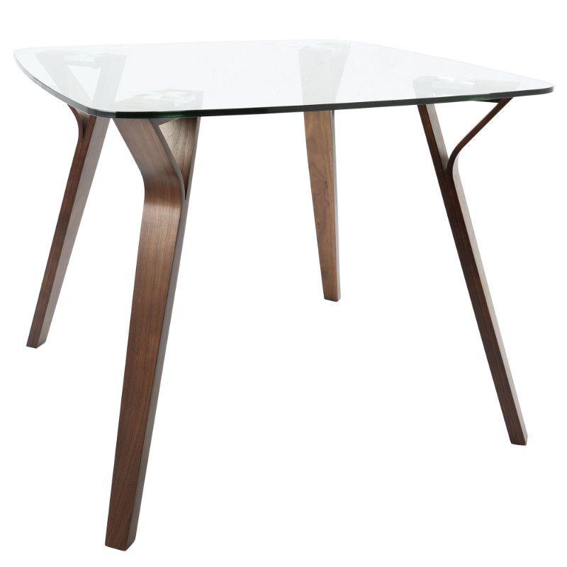 Folia Mid Century Modern Dining Table In Walnut And Glass Midcentury Modern Dining Table Modern Dining Table Modern Glass Dining Table