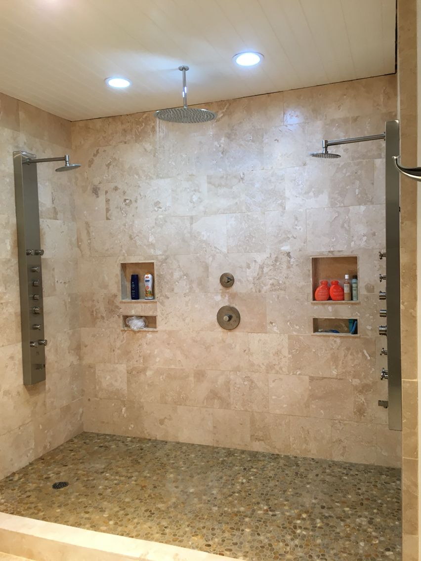 DIY Travertine double jetted shower with center 16\