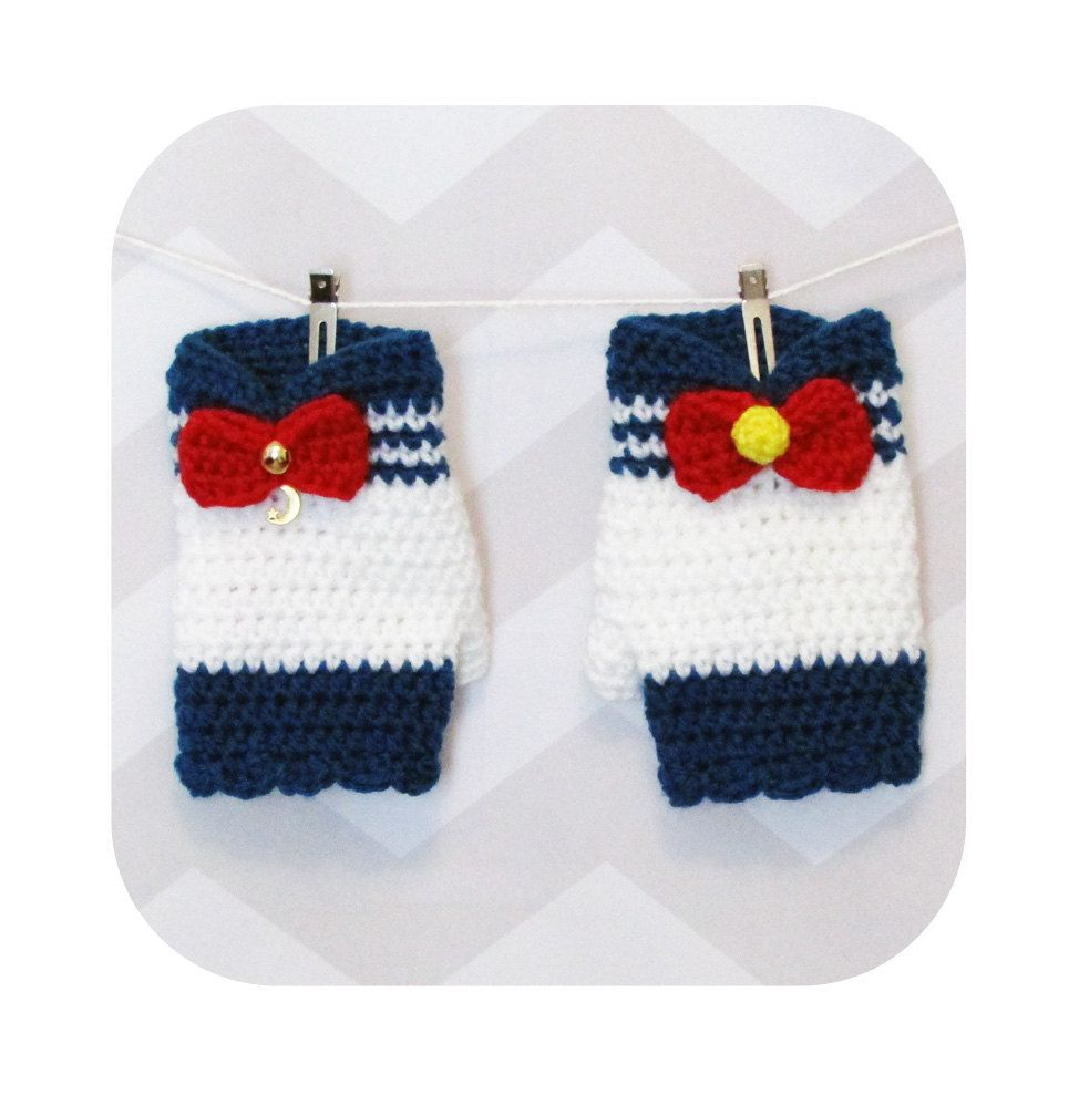 Crochet fingerless gloves pattern, sailor moon inspired gloves ...