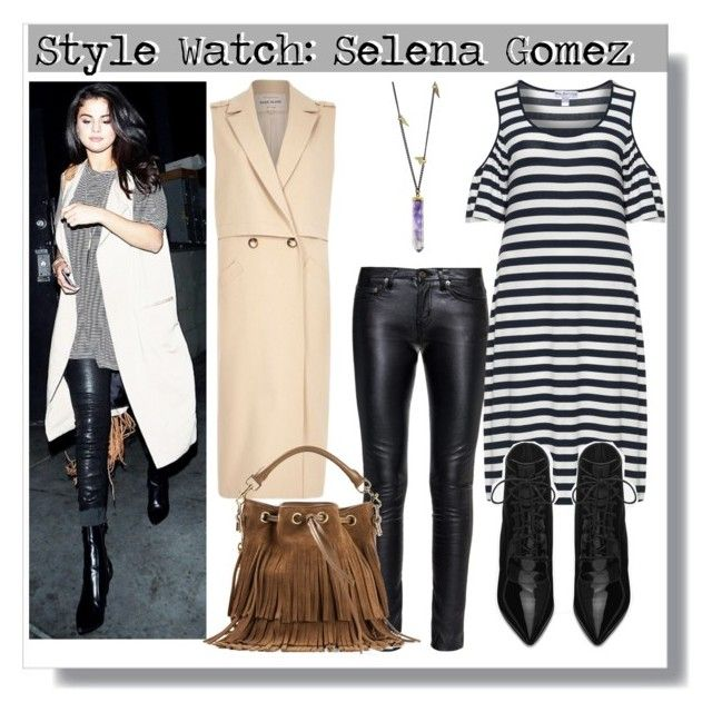 """Style Watch:Selena Gomez"" by stellastellahankinson ❤ liked on Polyvore featuring Yves Saint Laurent, Justin Bieber, Yoek, River Island, Jamie Joseph, GetTheLook, selenagomez, Stealherstyle and CelebrityStyle"