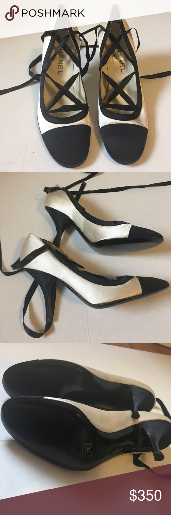 cd0645476b1c Authentic Chanel Satin Lace Up Heels 38.5 Chanel classic Size 38.5 Made in  Italy satin lace up heels. Never been worn. Slight discoloration on seams  of ...