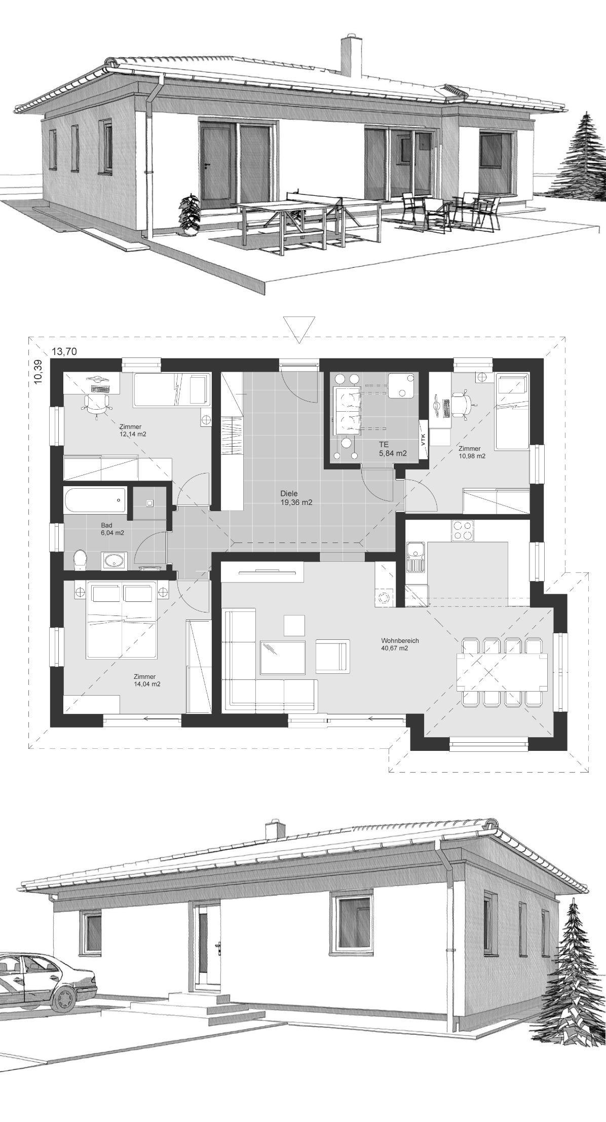 Bungalow neubau klassisch mit walmdach architektur 4 for Architektur klassisch