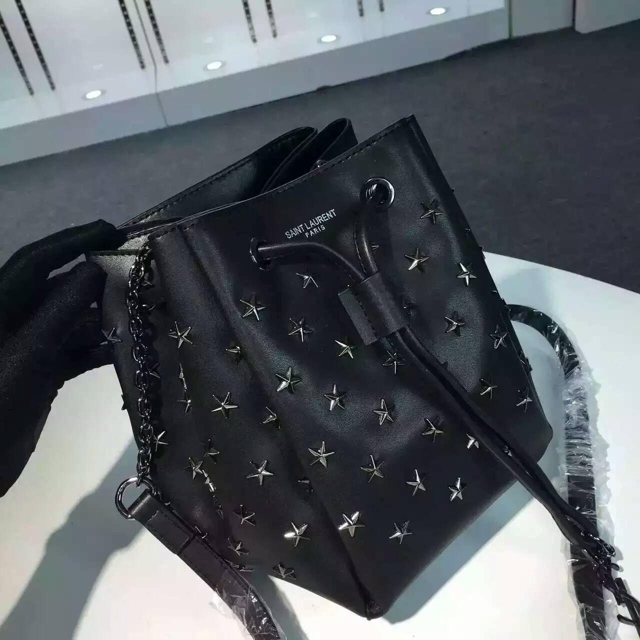 Limited Edition!2016 New Saint Laurent Bag Cheap Sale-Saint Laurent Medium  Emmanuelle Bucket Bag in Black Leather with Stars 0c621b5b374b8