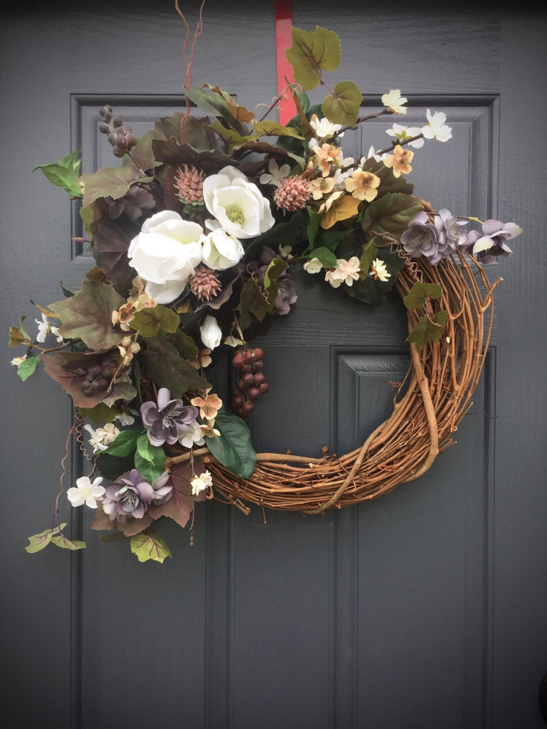 Magnolia Wreath, Grape Wreath, Year Round Wreaths, All Season Door Wreath,  Grapevine Decor, Year Round Door Wreath, Magnolia Flowers