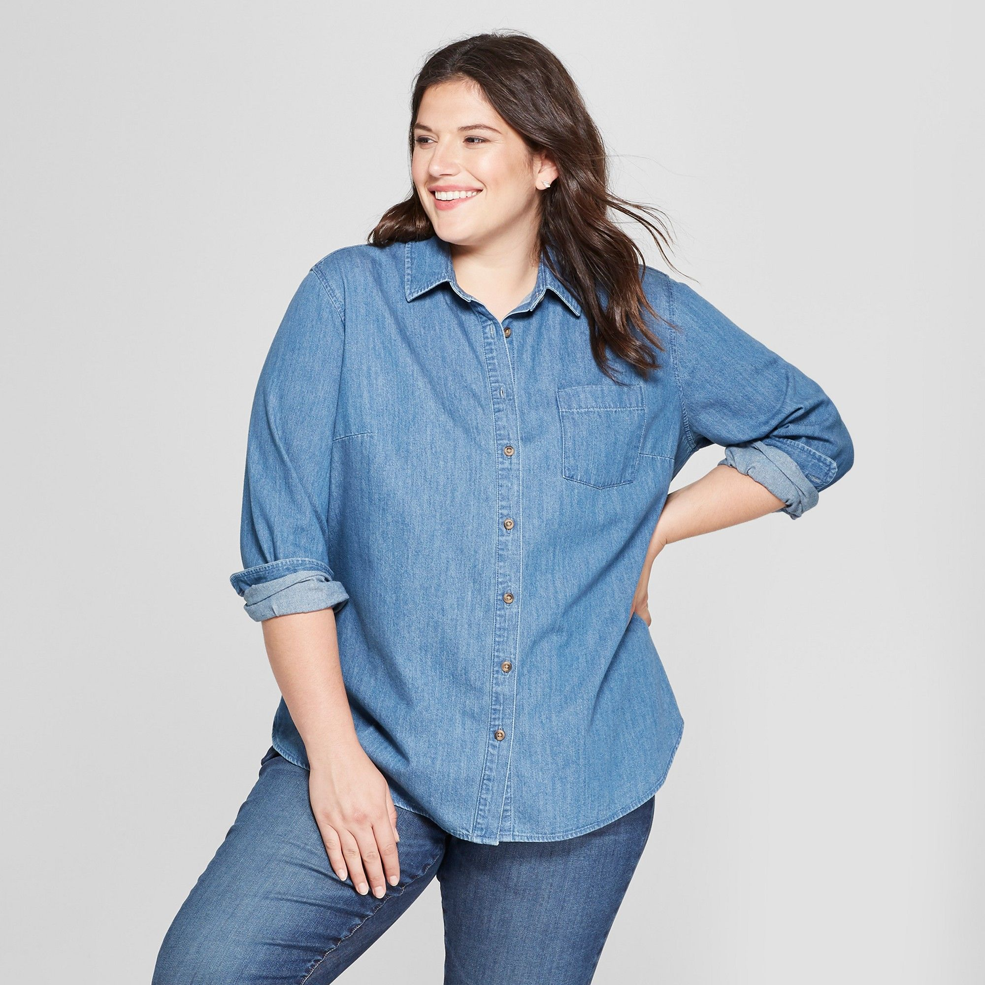 af7f8b86 Plus Size Denim Shirt Long