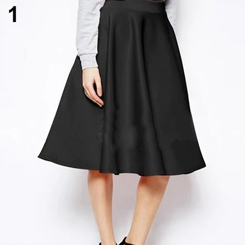 Women/'s Full Flared Chiffon Pleated High Waist Midi Calf Skirt Lined Long Solid