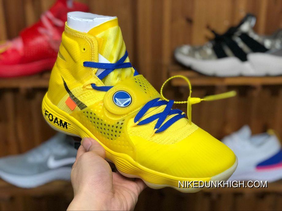 "a53b5dd800e Off-White X Nike Air Hyperdunk 2017 Flyknit Custom ""Warriors"" Royal Blue-Golden  Yellow AJ4578 700 Mens Basketball Shoes Best"