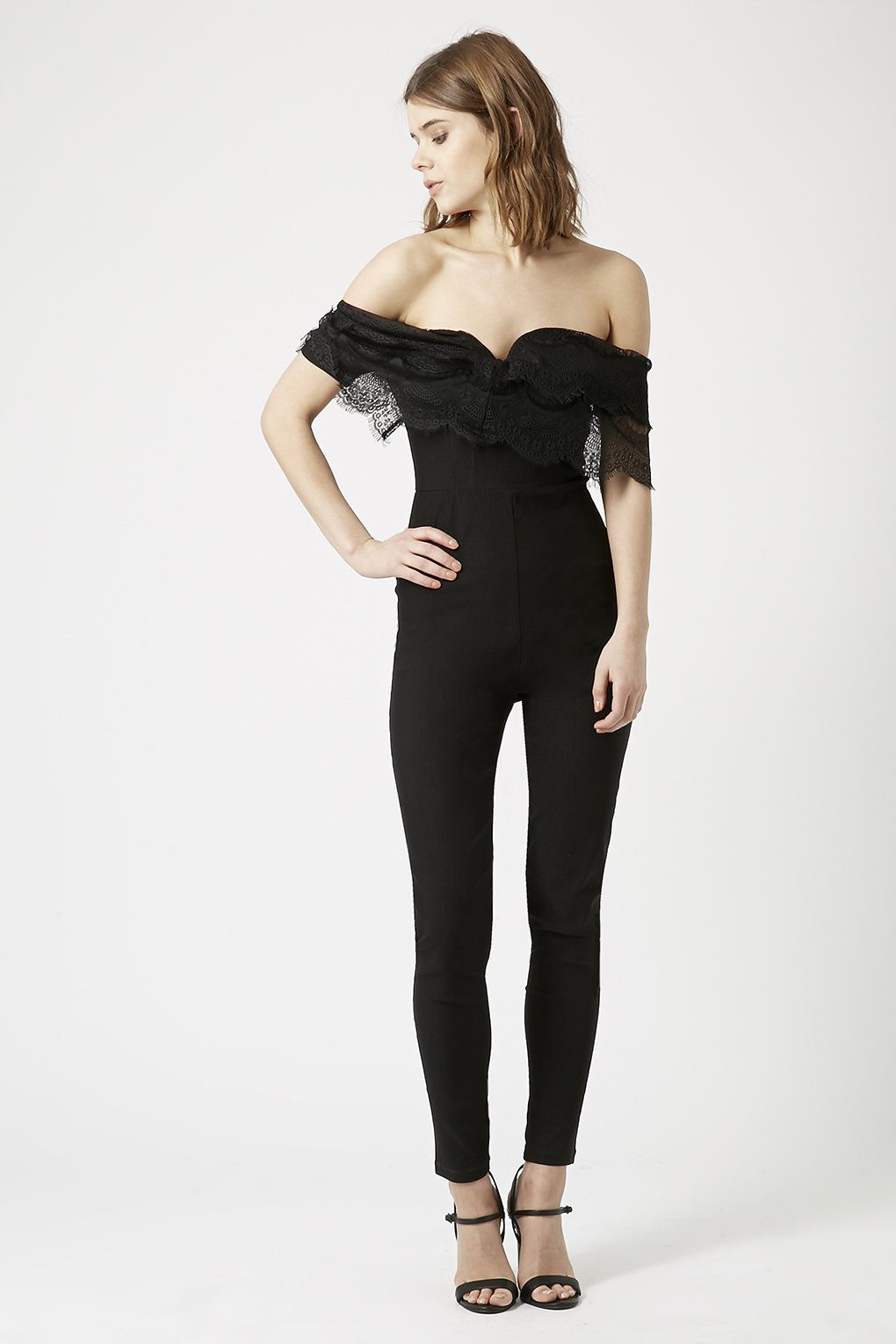 Photo 2 of **Lace Frill Top Slim Fit Jumpsuit by Rare