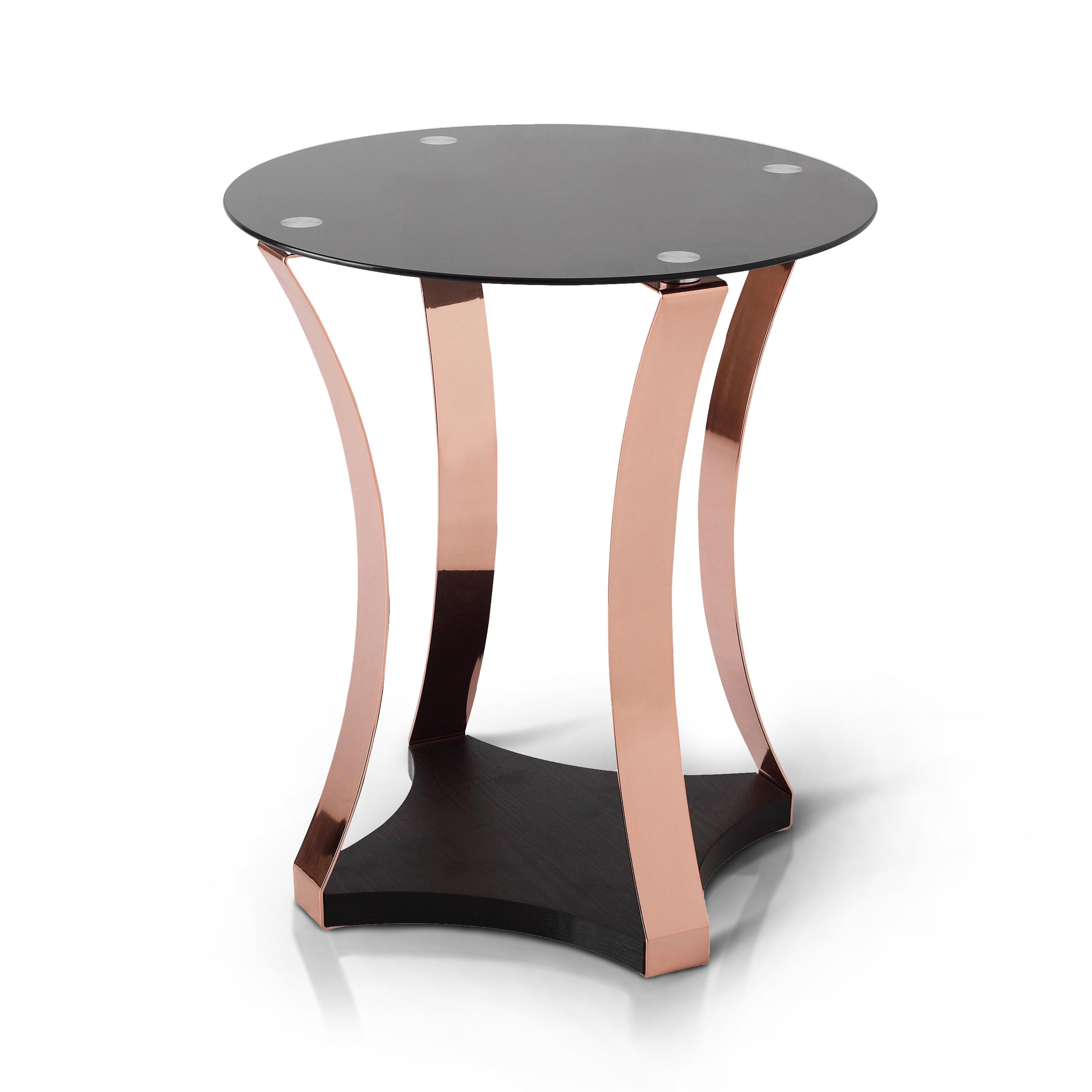 Furniture of america rosella contemporary rose gold and black