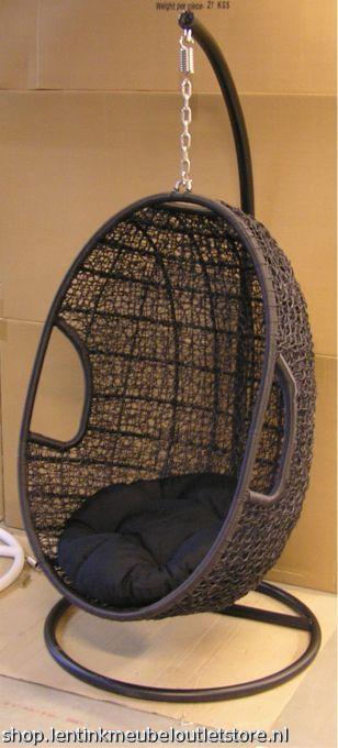 Rotan Hangstoel Zwart.Afbeelding 1 Van Rotan Hangstoel Zwart Hanging Chair Furniture